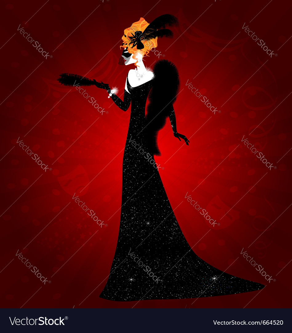 Lady and black mask vector