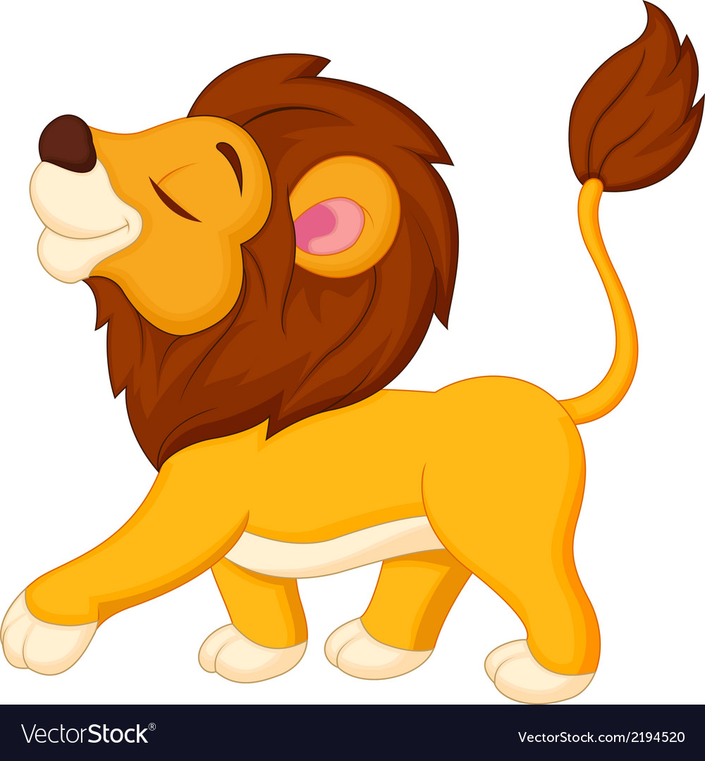 Lion cartoon walking vector | Price: 1 Credit (USD $1)