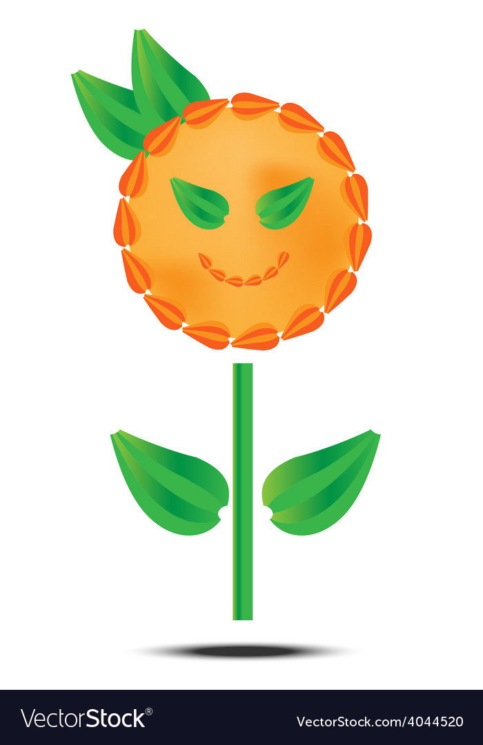 Orange flower on white background vector | Price: 1 Credit (USD $1)
