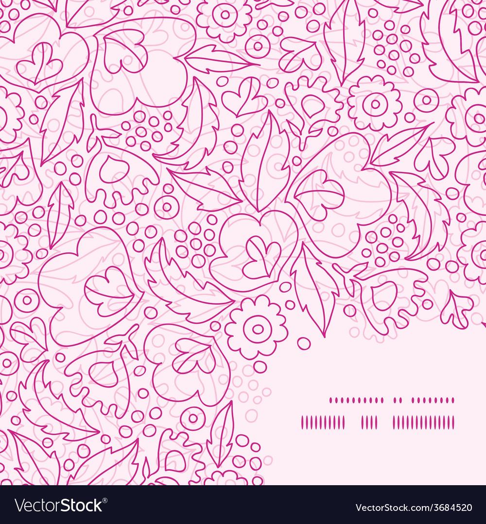 Pink flowers lineart frame corner pattern vector | Price: 1 Credit (USD $1)