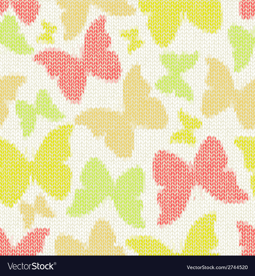 Seamless pattern with textile butterflies knitted vector | Price: 1 Credit (USD $1)
