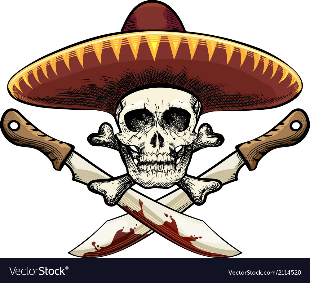 Skull with machete vector | Price: 1 Credit (USD $1)