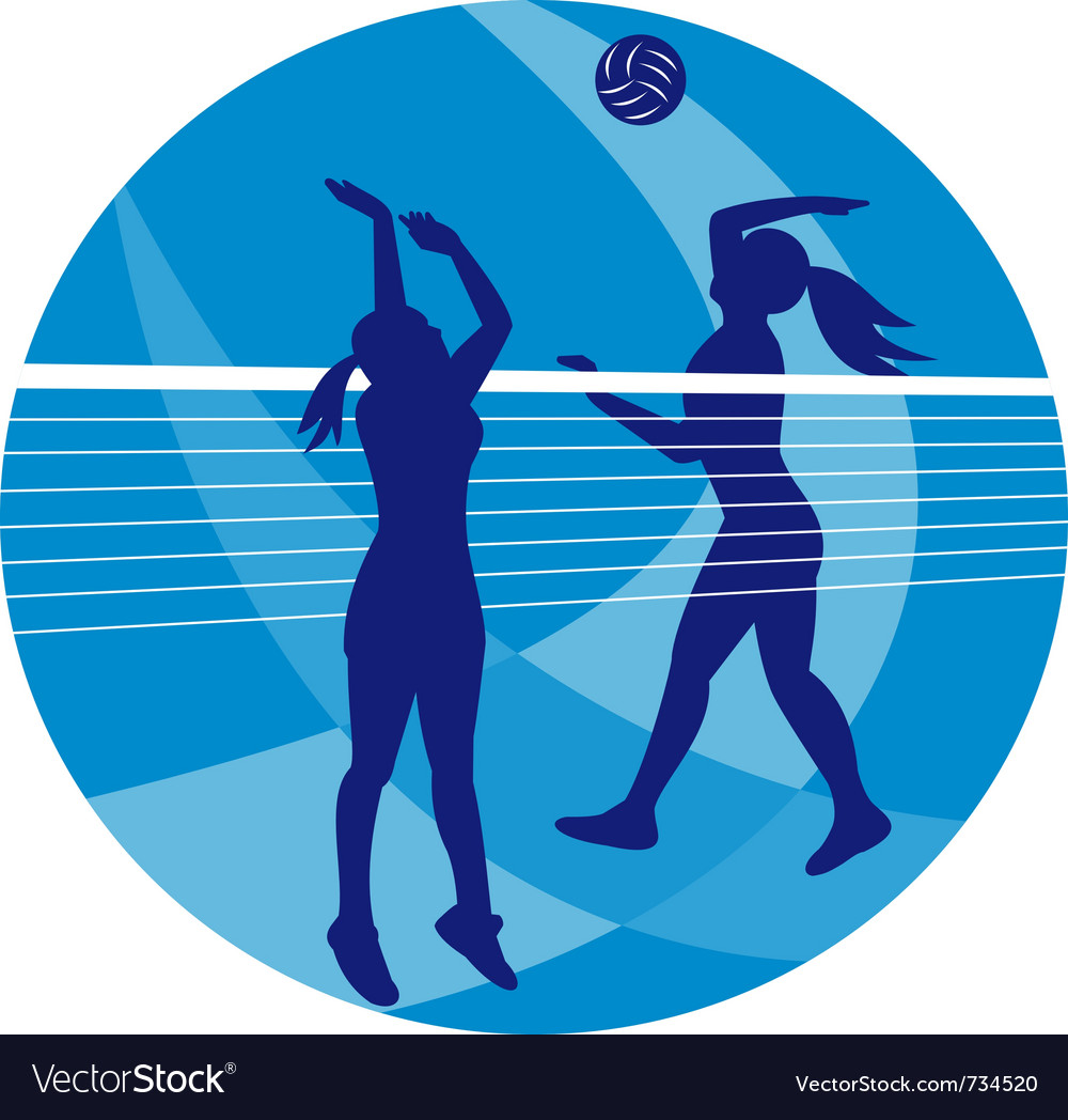 Volleyball player spiking hitting ball vector | Price: 1 Credit (USD $1)