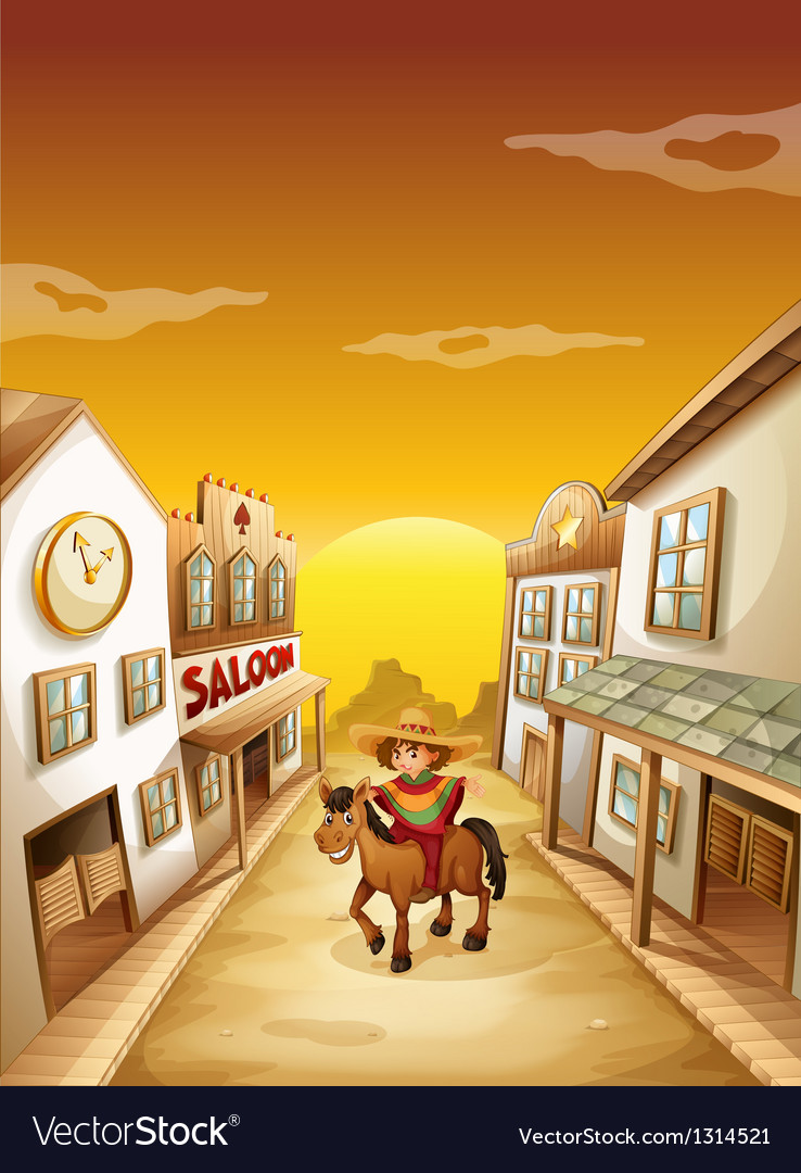 A boy riding in a horse outside the saloon vector | Price: 1 Credit (USD $1)