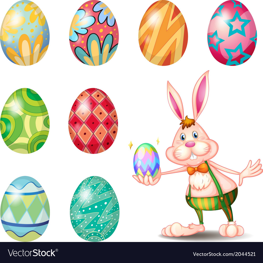 A cute bunny holding a small egg vector | Price: 1 Credit (USD $1)