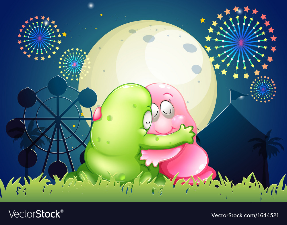 A pink and a green monster hugging each other in vector | Price: 3 Credit (USD $3)