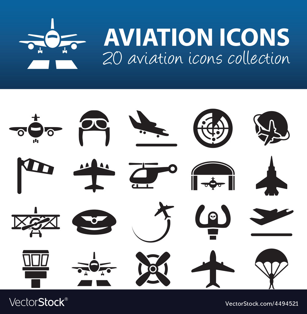 Aviation icons vector | Price: 1 Credit (USD $1)