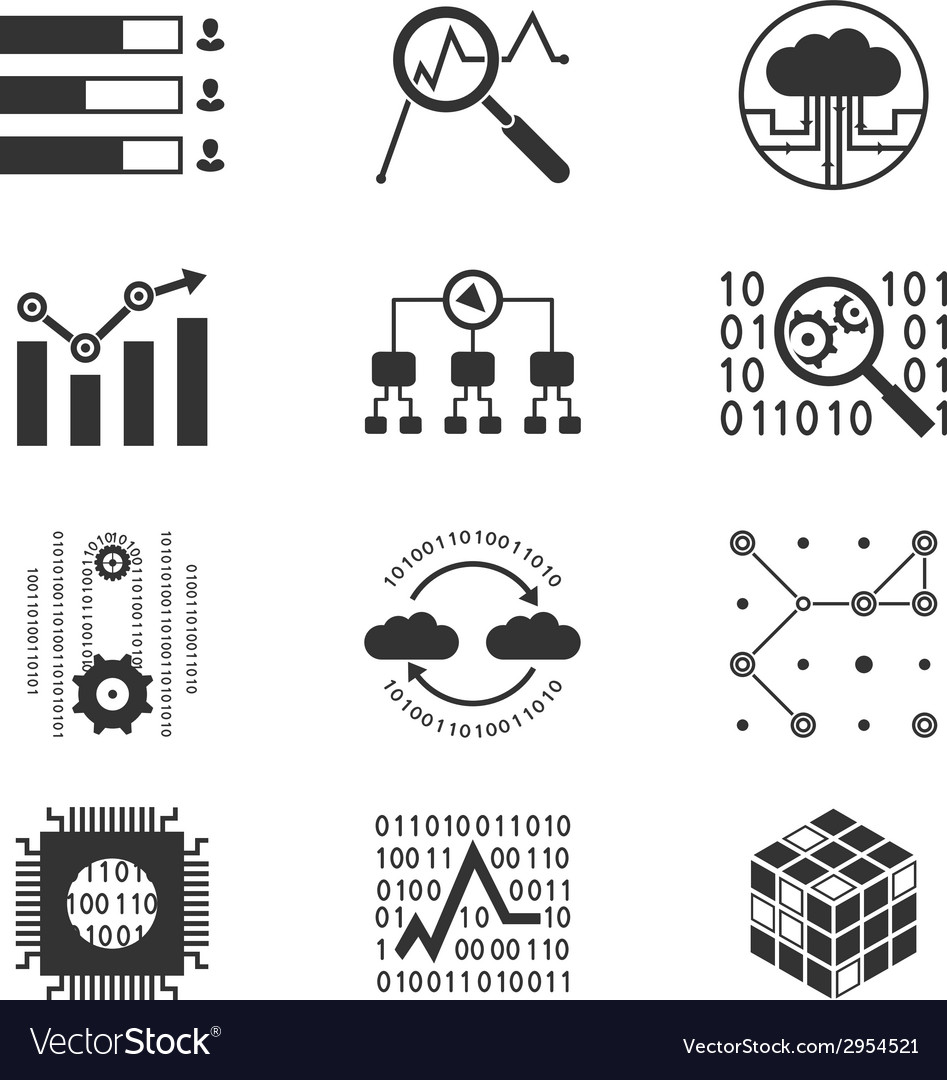 Data analytic silhouette icons vector | Price: 1 Credit (USD $1)