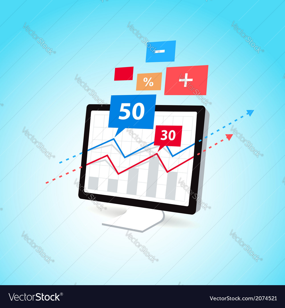 Finance diagram display computer pc icon element vector | Price: 1 Credit (USD $1)