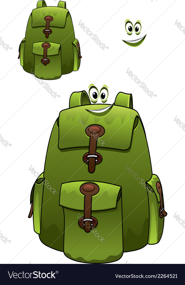 Green rucksack with a cute grin vector | Price: 1 Credit (USD $1)
