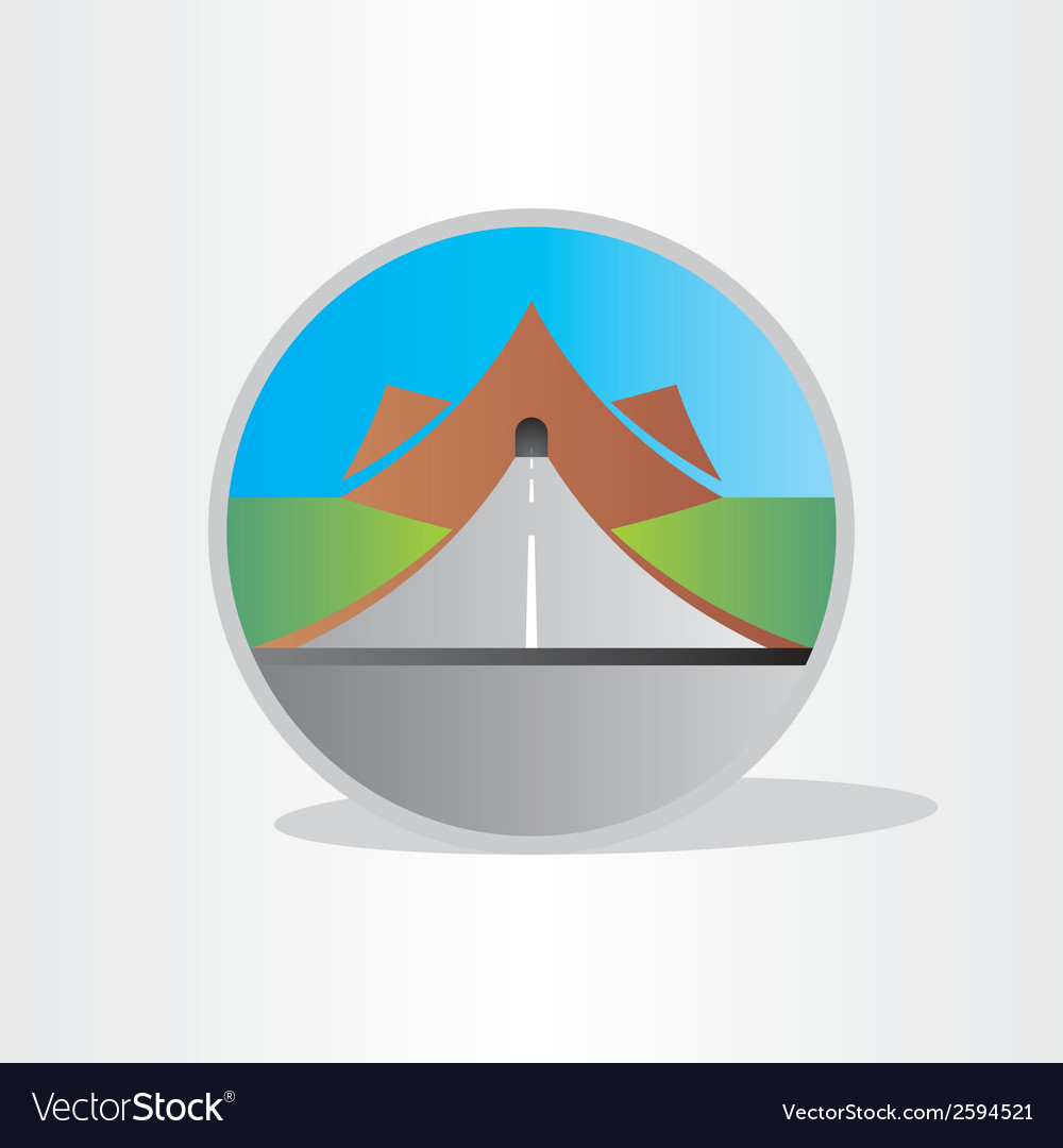 Highway tunnel in mountain design vector | Price: 1 Credit (USD $1)