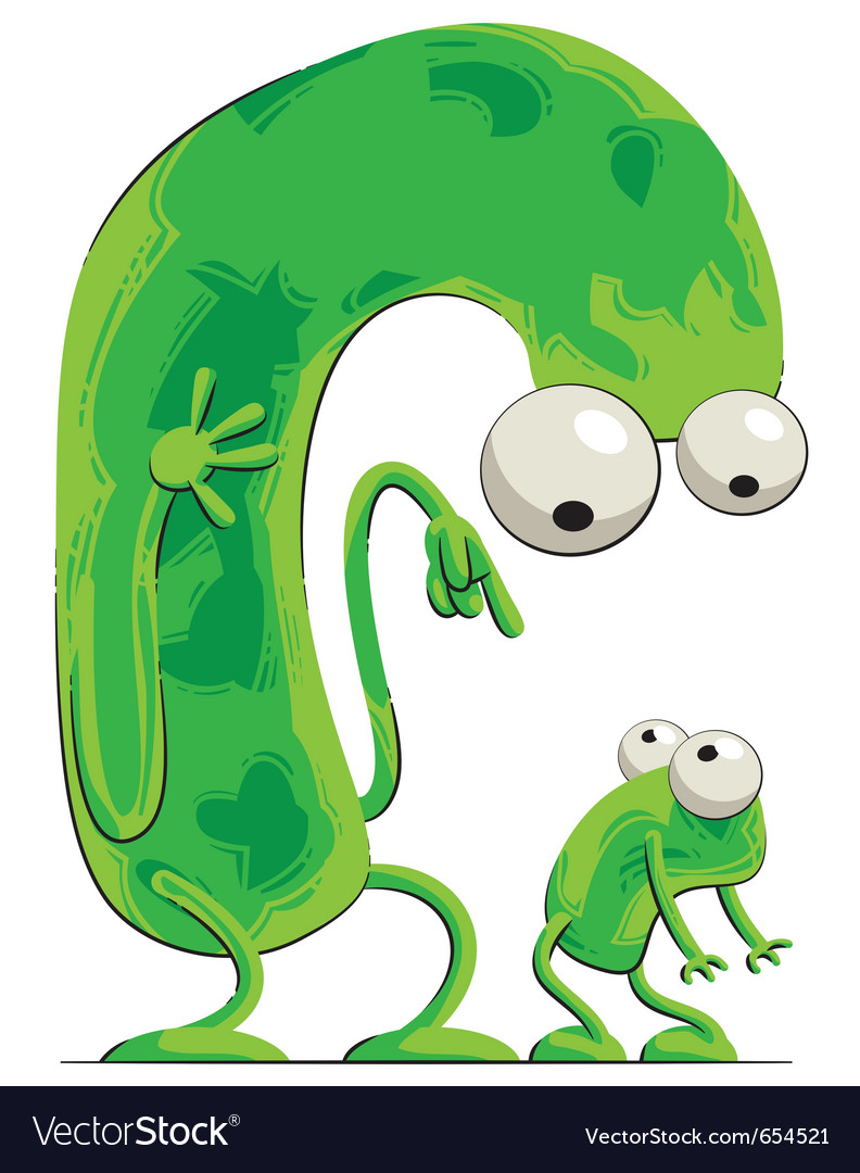 Parent and child - green creatures vector | Price: 3 Credit (USD $3)