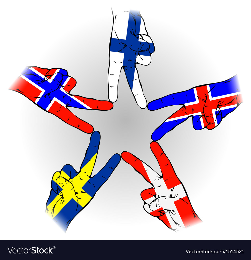 Peace sign of scandinavian flags vector | Price: 1 Credit (USD $1)