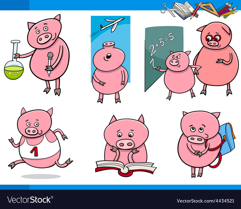 Piglet character student cartoon set vector | Price: 1 Credit (USD $1)