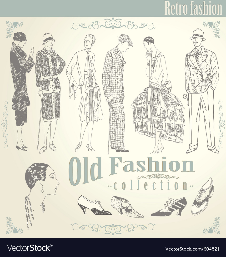 Retro fashion set vector | Price: 1 Credit (USD $1)