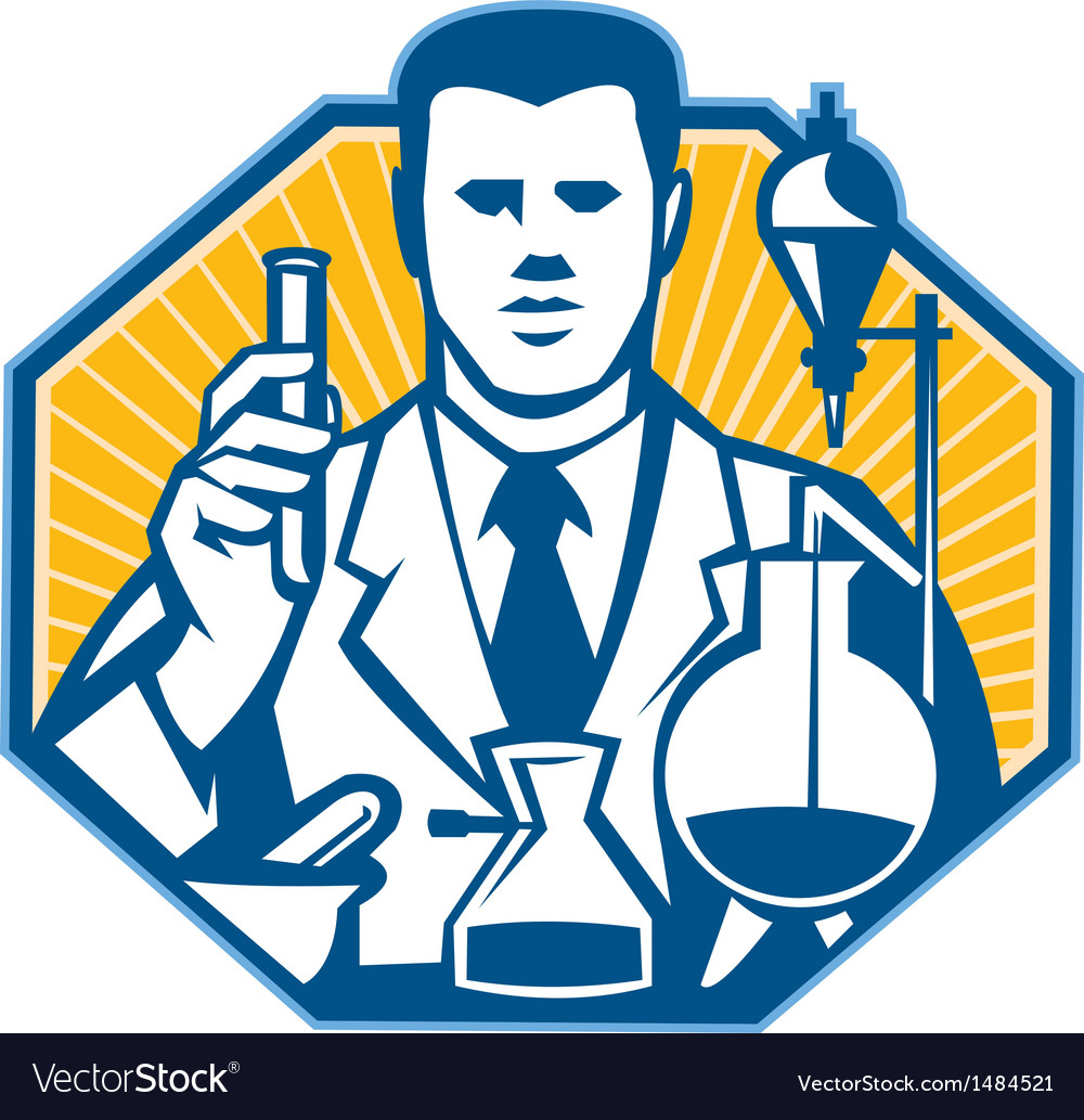 Scientist lab researcher chemist retro vector | Price: 1 Credit (USD $1)