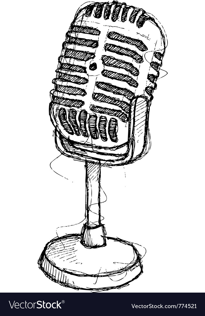 Scribble series  vintage microphone vector