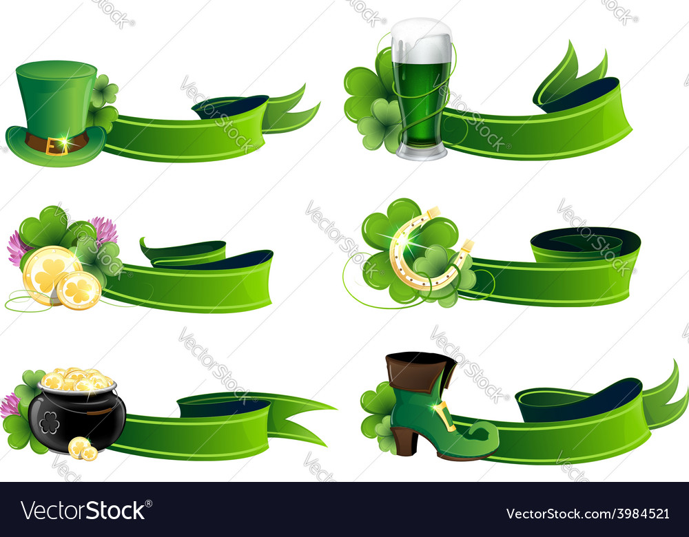 St patricks day icon set vector | Price: 1 Credit (USD $1)
