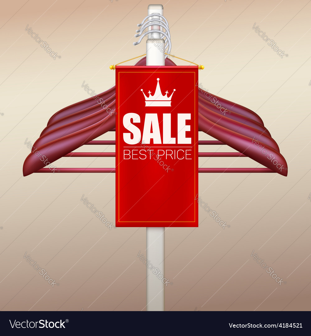 Wooden hangers with advertising label vector | Price: 3 Credit (USD $3)