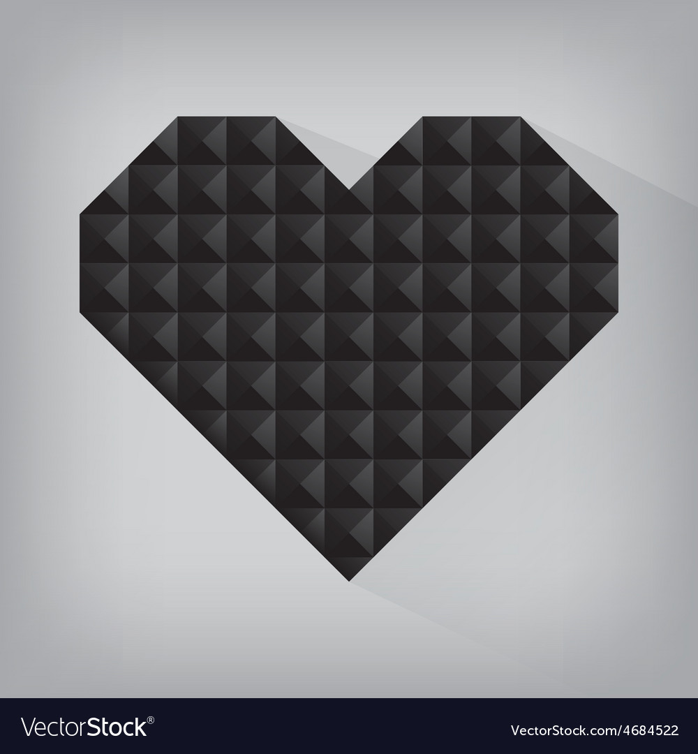 Black retro heart triangle abstract love valentine vector | Price: 1 Credit (USD $1)