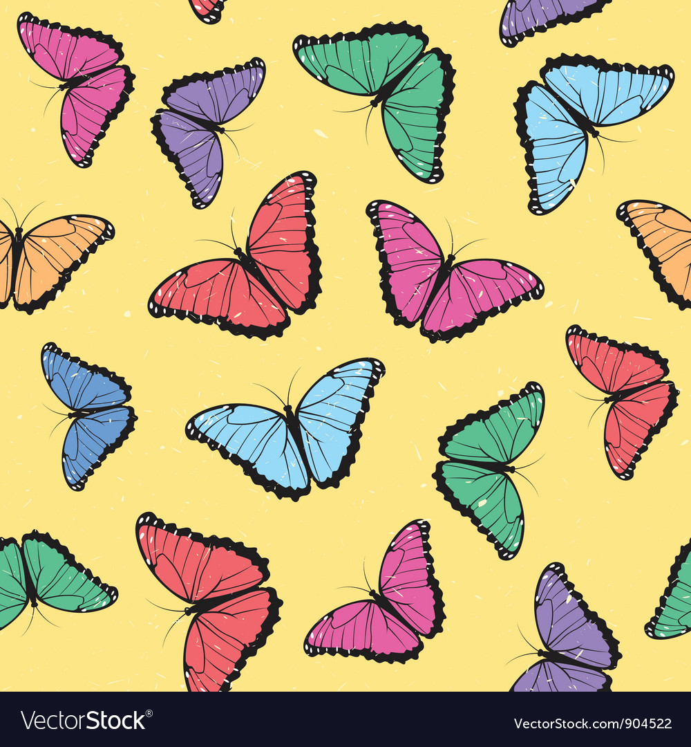 Color butterflies seamless pattern vector | Price: 1 Credit (USD $1)