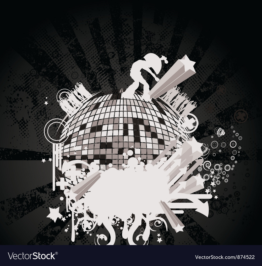 Concert poster with discoball vector | Price: 1 Credit (USD $1)