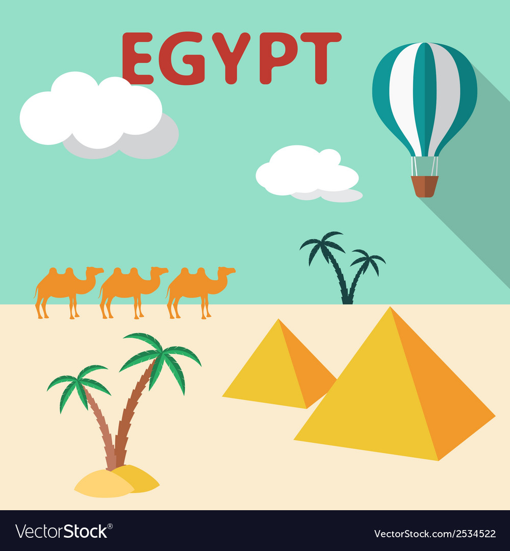 Egypt travel flat design with palm tree pyramids vector | Price: 1 Credit (USD $1)