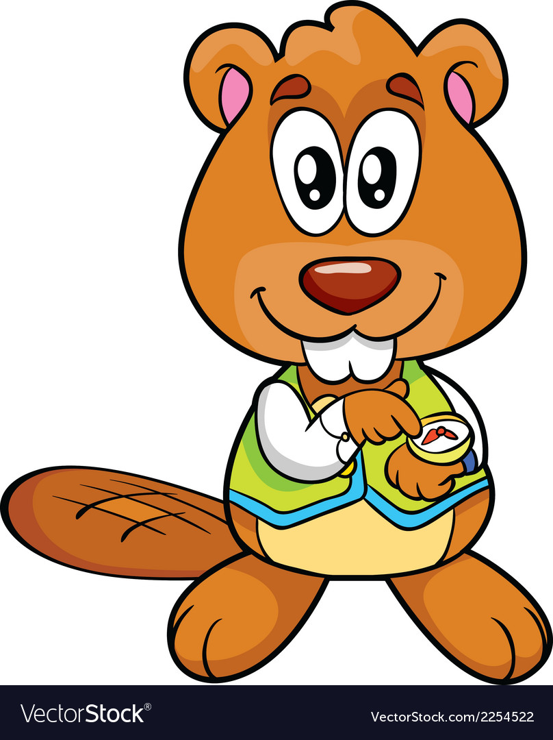 Hand-drawn of an happy beaver vector | Price: 1 Credit (USD $1)