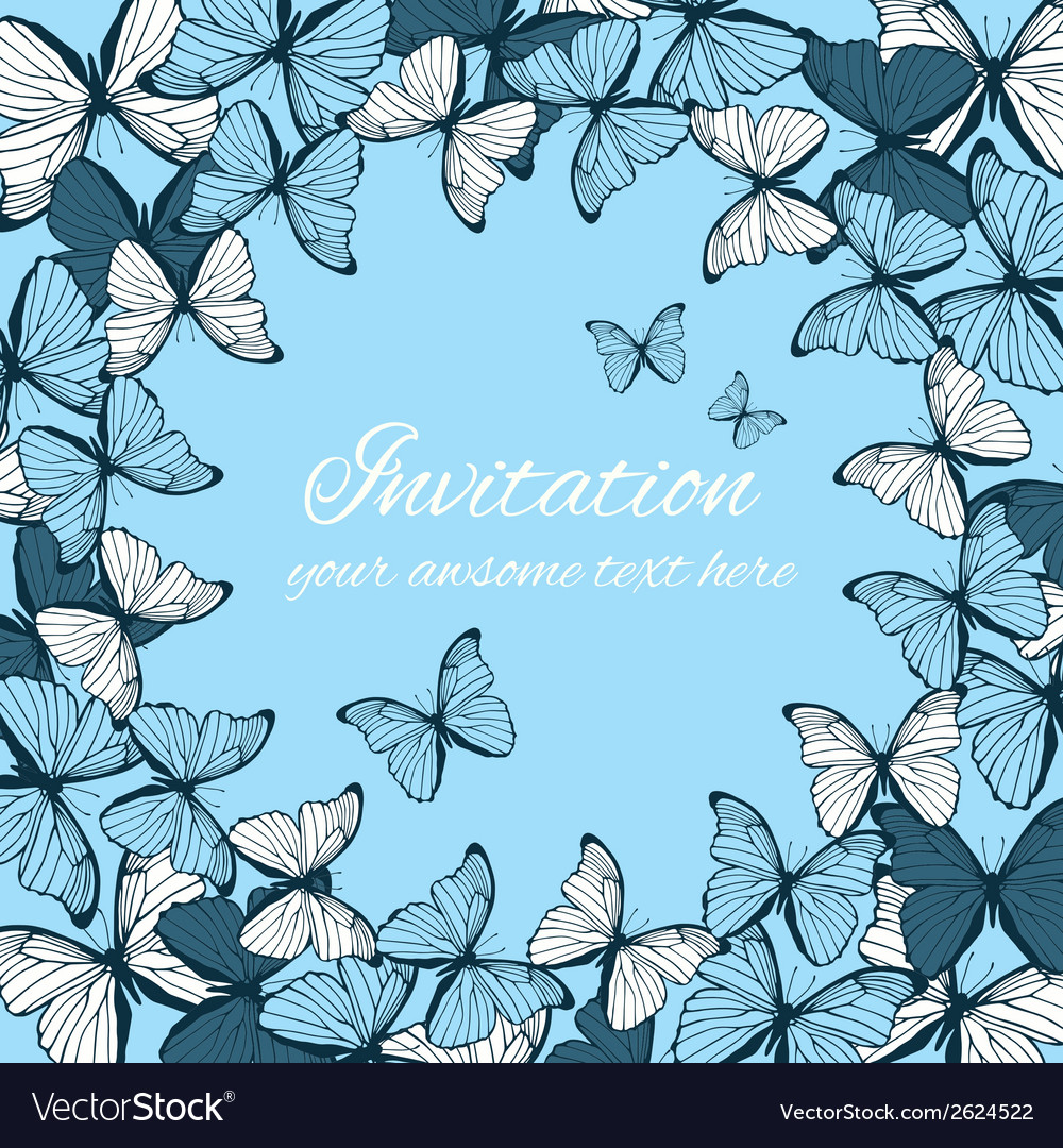 Invitation card template with butterfly ornament vector | Price: 1 Credit (USD $1)