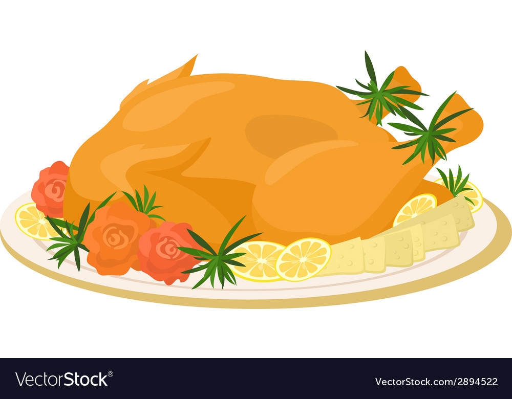 Meal on dish roasted turkey vector | Price: 1 Credit (USD $1)