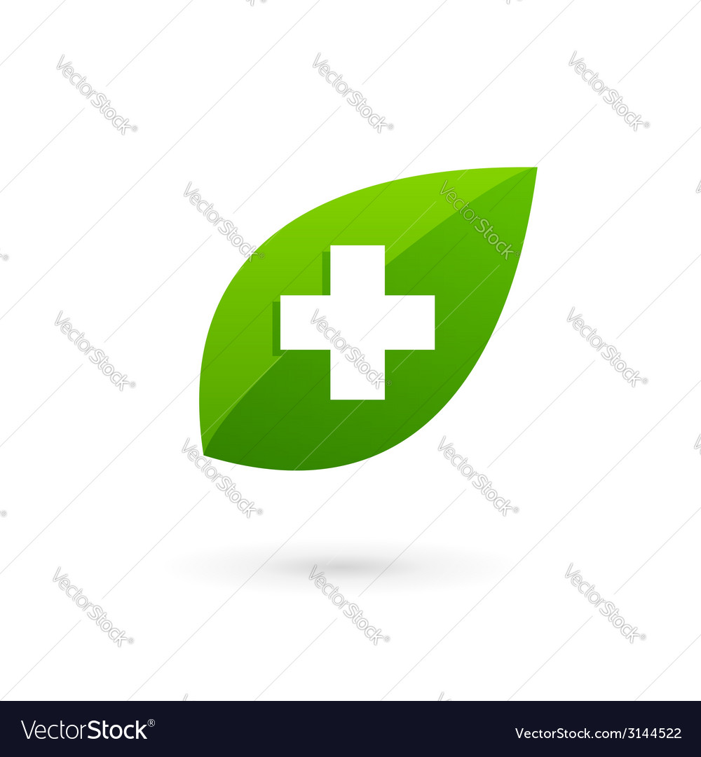 Medical eco logo icon design template with cross vector | Price: 1 Credit (USD $1)
