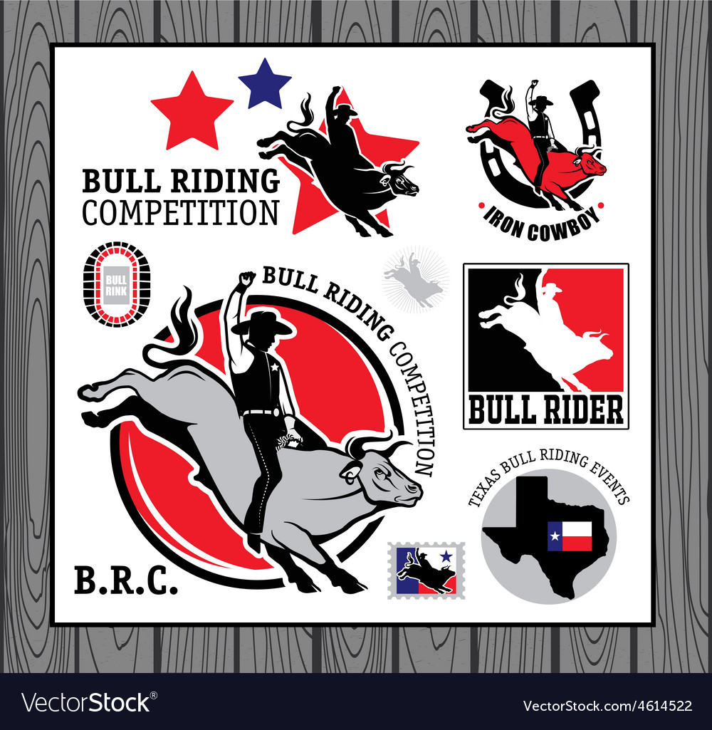 Rodeo cowboy riding a bull retro style poster vector | Price: 1 Credit (USD $1)