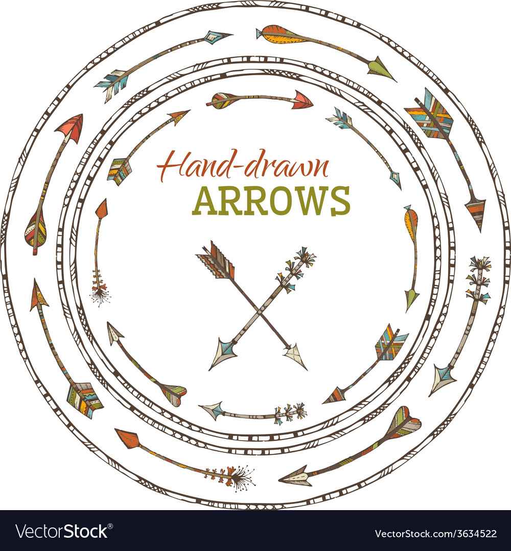 Round frames of various ethnic arrows vector | Price: 1 Credit (USD $1)