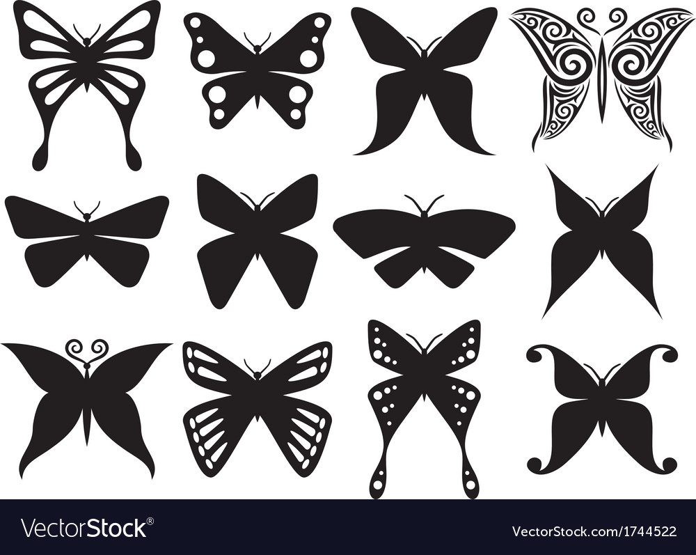 Set of butterflies silhouettes vector | Price: 1 Credit (USD $1)