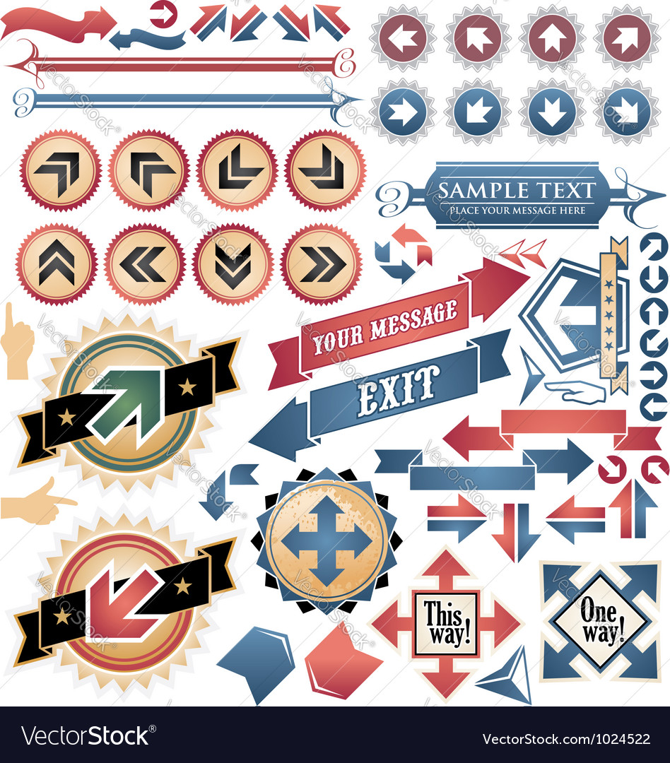Vintage arrows - icons and symbols collection vector | Price: 3 Credit (USD $3)