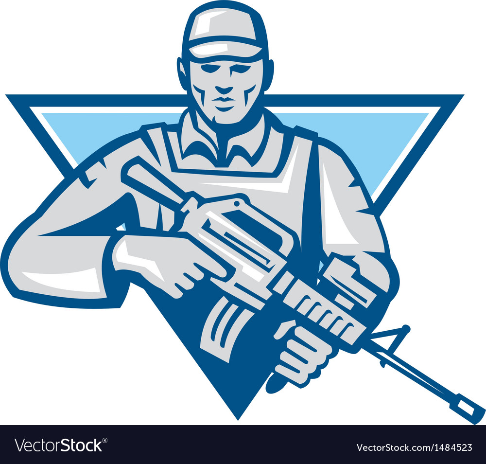 American soldier assault rifle retro vector | Price: 1 Credit (USD $1)