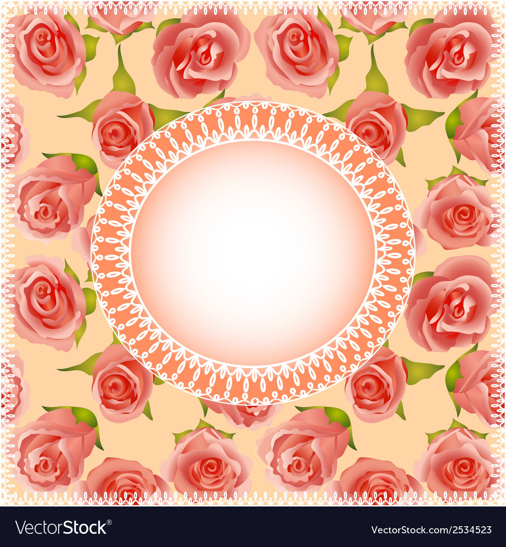Background with roses and lace vector | Price: 1 Credit (USD $1)