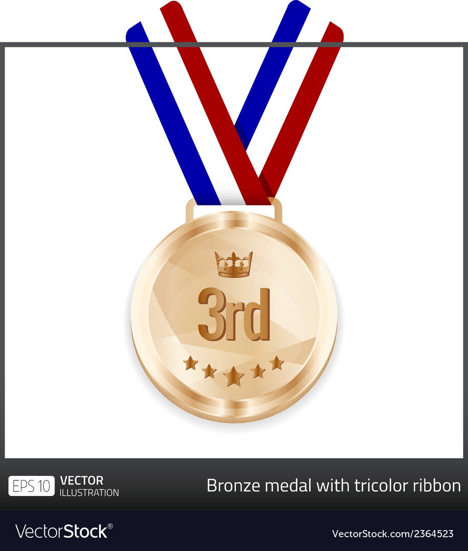 Bronze medal with tricolor ribbon vector | Price: 1 Credit (USD $1)