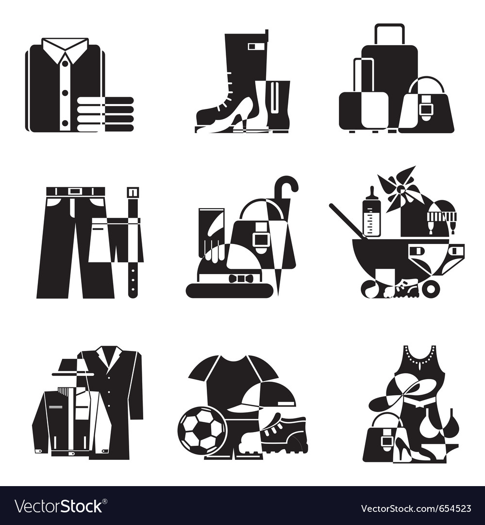 Clothing and accessories icons vector | Price: 1 Credit (USD $1)