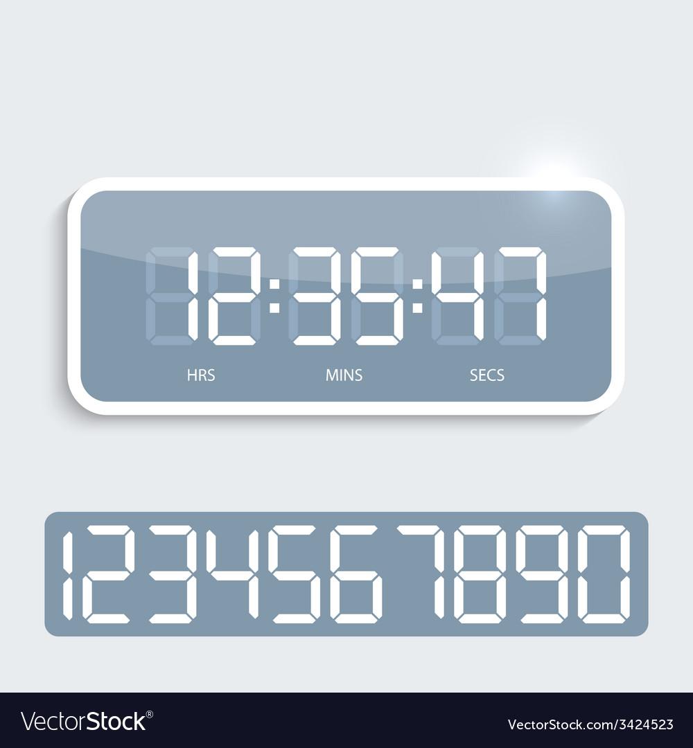 Digital clock with shiny plastic panel vector | Price: 1 Credit (USD $1)