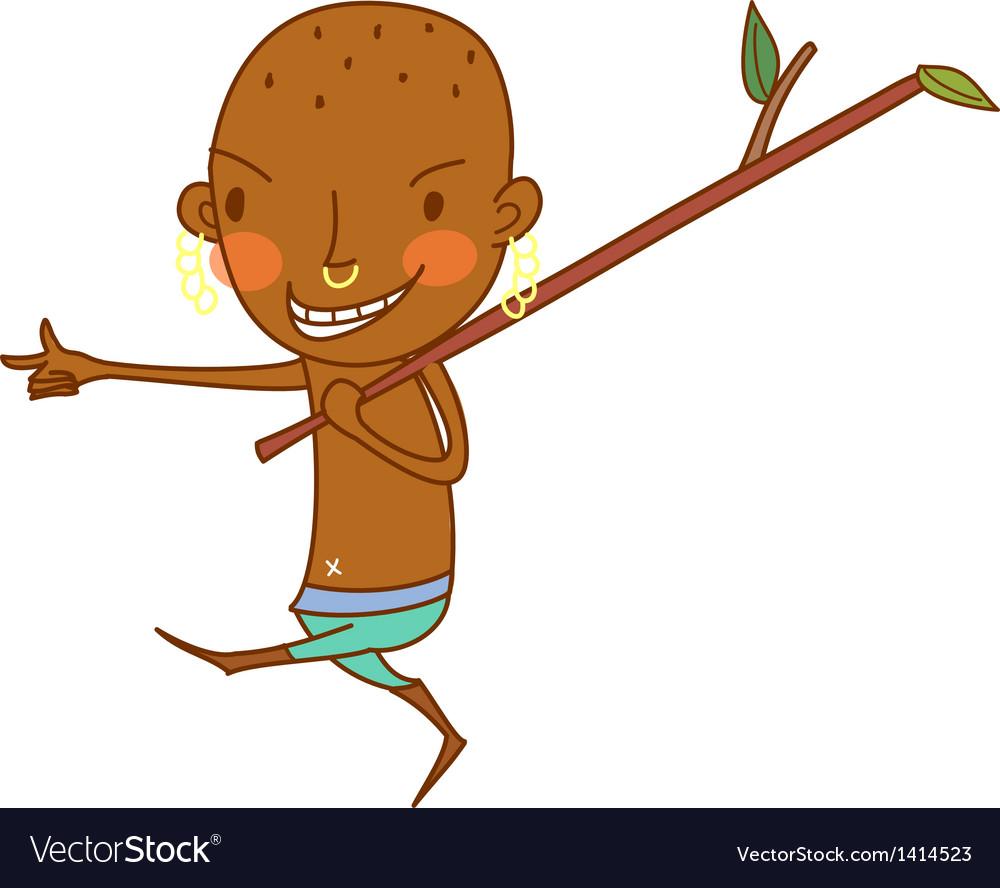 Ethnic boy walking vector | Price: 1 Credit (USD $1)