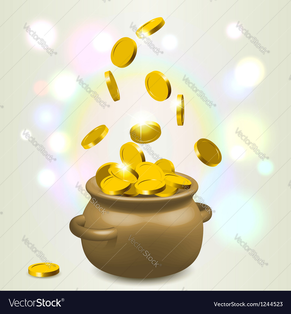 Lucky bowl of gold vector | Price:  Credit (USD $)