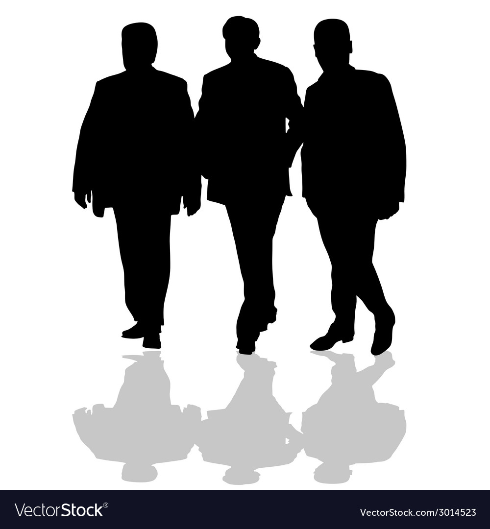 Man in small group silhouette in black vector | Price: 1 Credit (USD $1)