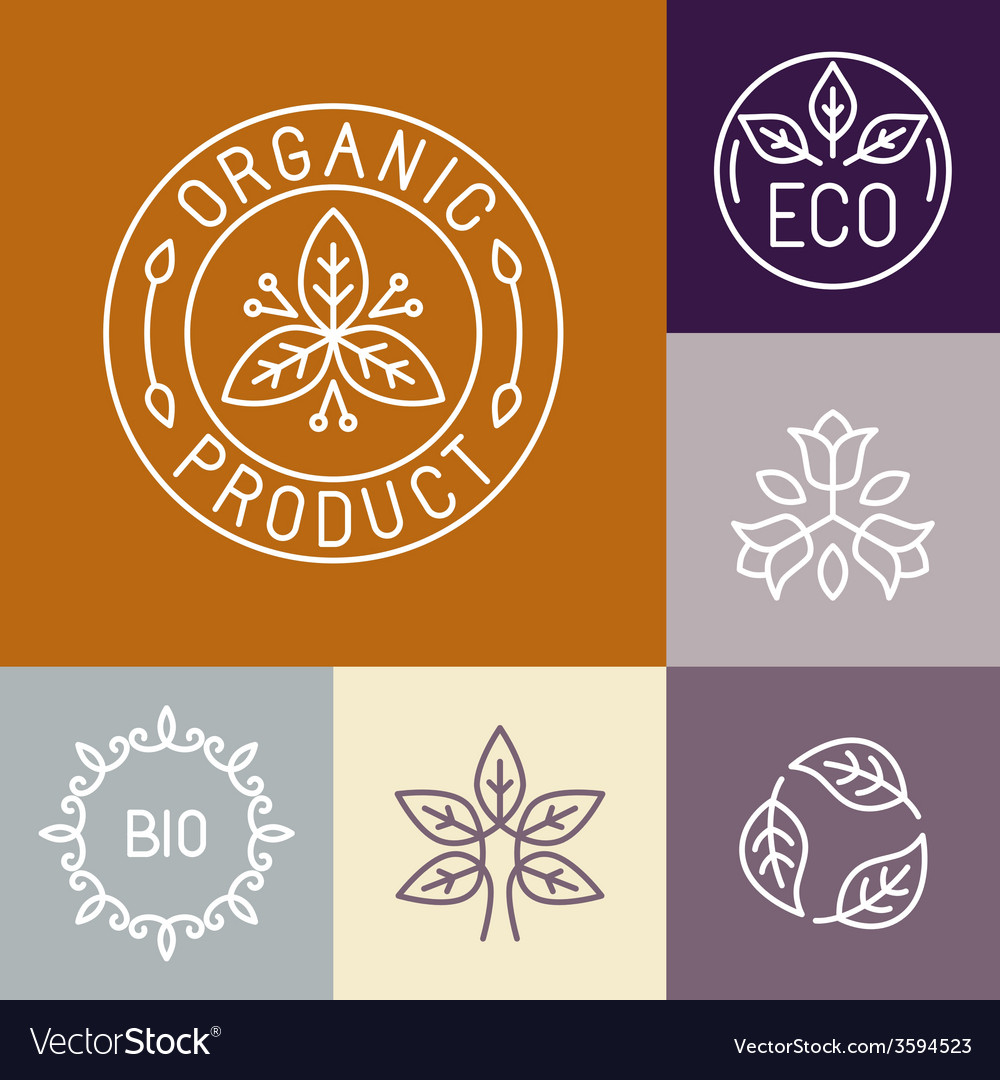 Organic product label in outline vector | Price: 1 Credit (USD $1)