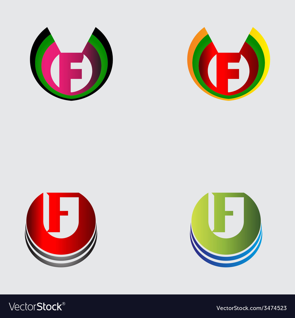 Set of alphabet symbols and elements of letter f vector | Price: 1 Credit (USD $1)