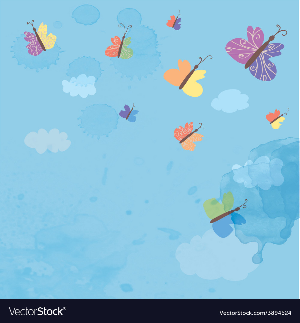 Background with sky and butterflies - watercolor vector | Price: 1 Credit (USD $1)