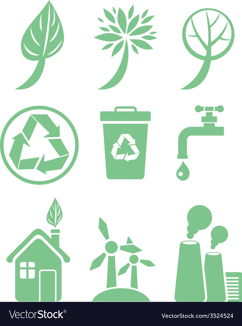 Green energy and ecology icon set vector   Price: 1 Credit (USD $1)