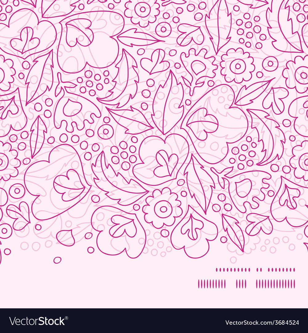 Pink flowers lineart horizontal frame seamless vector | Price: 1 Credit (USD $1)