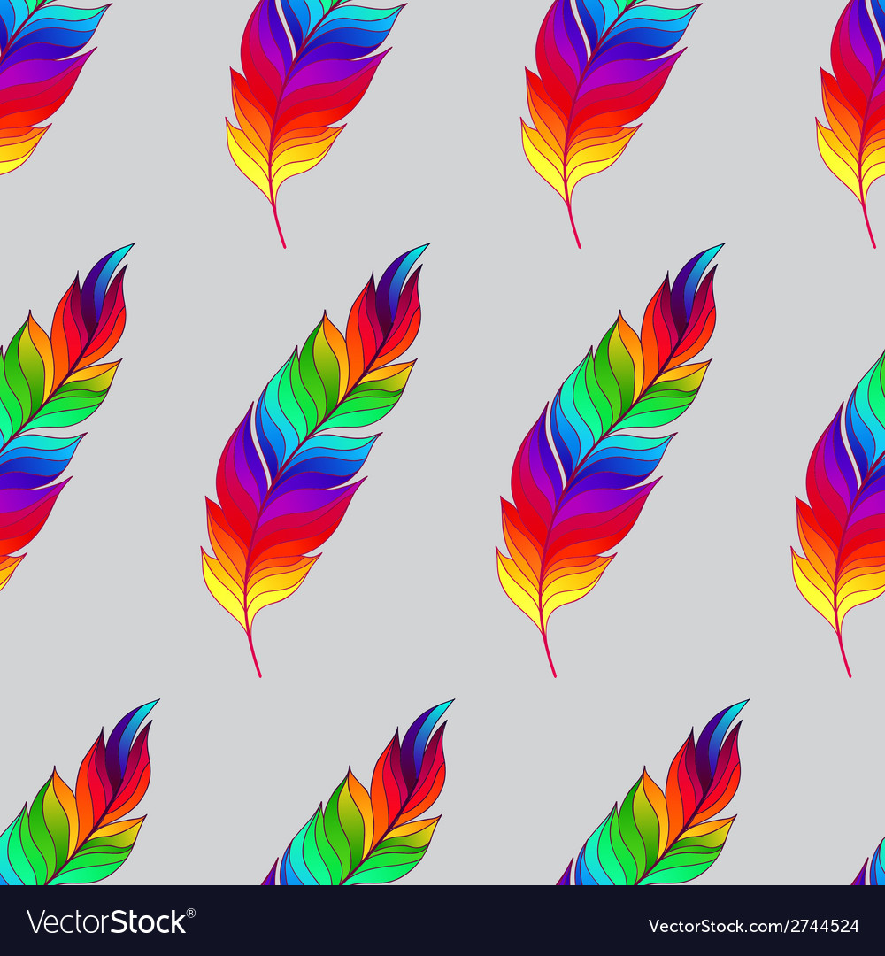 Seamless pattern with rainbow feathers vector | Price: 1 Credit (USD $1)