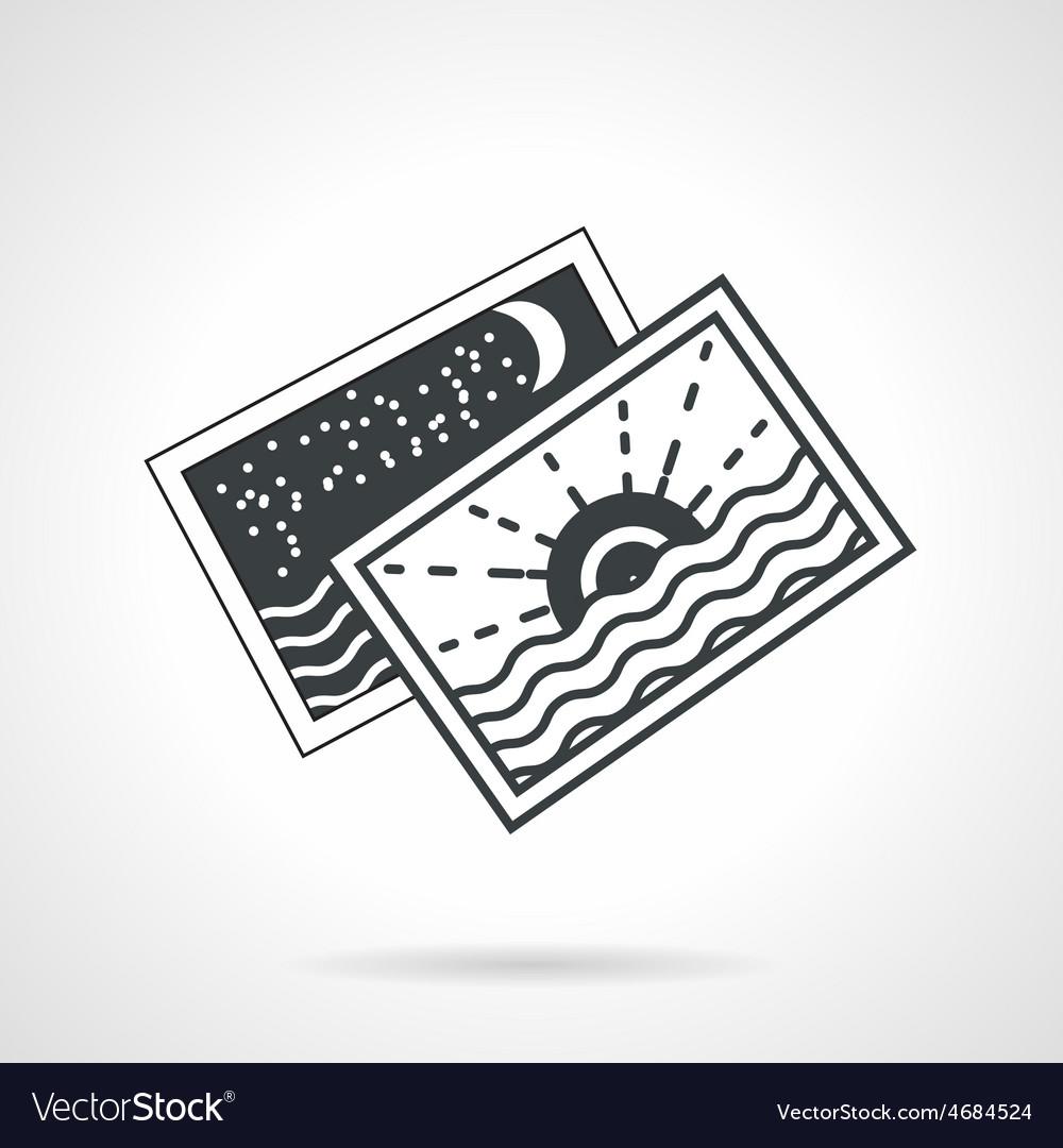Seascape cards black line icon vector | Price: 1 Credit (USD $1)